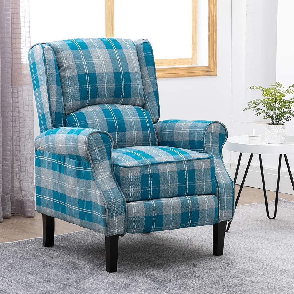 YVX Fabric Recliner Chairs for Living Room Bedroom Fireside, Adjustable Armchair Lounge Reclining Sofa Home Theater Individual Seating, Wing Back Design with Vintage Blue Check Pattern
