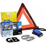 6 Piece European Driving Kit Travel Abroad Euro Warning Triangle Kit EU UK Emergency Car Essentials Headlamp Beam Deflectors Universal Bulb Kit Warning Triangle High Visibility Vest GB Sticker Dynamo Torch