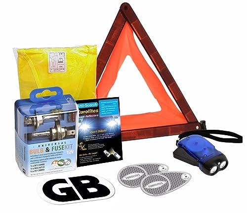 6 Piece European Driving Kit Travel Abroad Euro Warning Triangle Kit EU UK Emergency Car Essentials Headlamp Beam Deflectors Universal Bulb Kit Warning Triangle High Visibility Vest GB Sticker Dynamo Torch