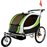 ClevrPlus Deluxe 3-in-1 Double 2 Seat Bicycle Bike Trailer Jogger Stroller for Kids Children | Foldable Collapsible w…