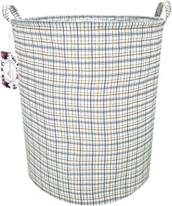 "TIBAOLOVER 19.7"" Large Sized Waterproof Foldable Canvas Laundry Hamper Bucket with Handles for Storage Bin,Kids Room,Home Organizer,Nursery Storage,Baby Hamper (Red and Blue Square)"