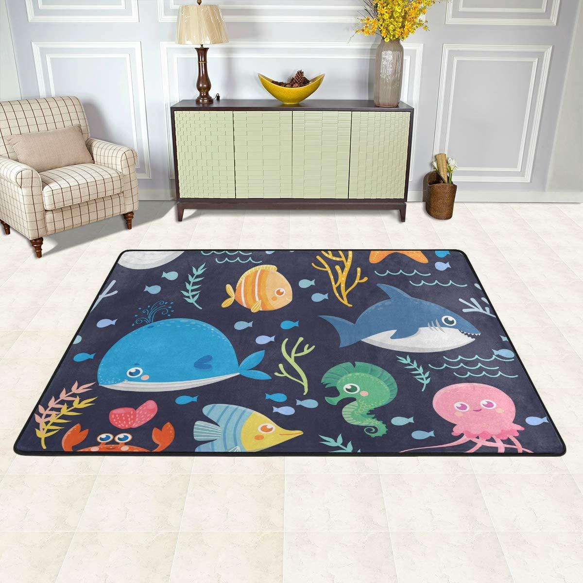 Redecor Teppich Kinderzimmer Wohnzimmerteppich Schlafzimmer K/üche Rutschfest 91x60 cm Qualle Meerestier Fisch