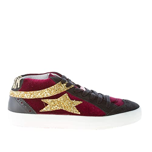 on sale 8a34a 679b9 Ishikawa Women Shoes Bordeaux Velvet and Black Suede mid Cut ...