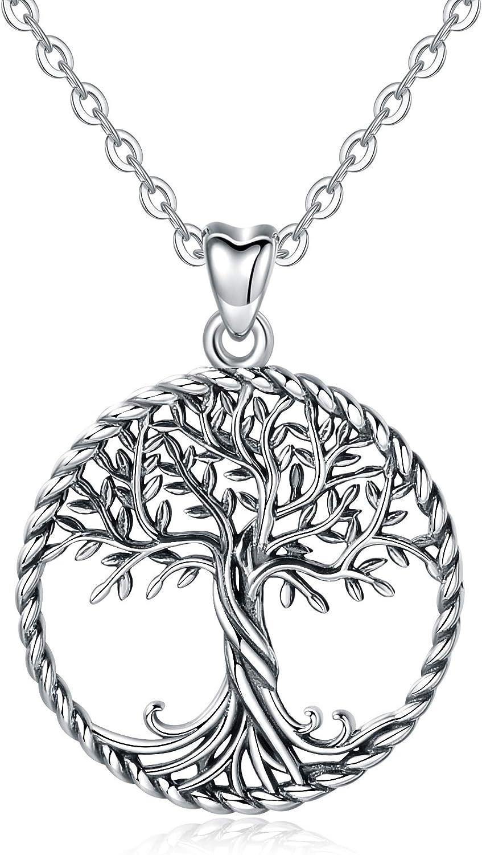 CELESTIA Plata de Ley 925 Collares del Árbol de la Vida, Mujer Colgante de la Vida en el árbol con Cadena, Joyas Finas, Regalos para Madres Niñas Amistad
