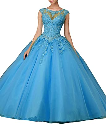 03eb623fadd Women s Cap Sleeves Prom Ball Gowns with Appliques Beaded Quinceanera  Dresses Tulle Blue