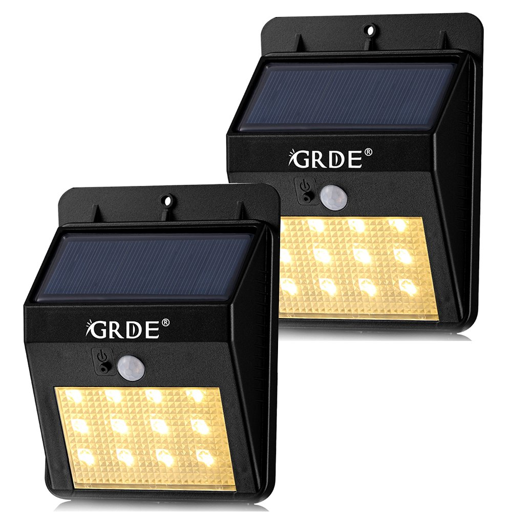 Solar Motion Sensor Light, 12LED Outdoor Wireless Waterproof Security Light with Two Intelligent Modes, Warm-white Lighting Landscape Lamp for Patios Garden Decks Pathways Stairways Driveways-2Pack by GRDE