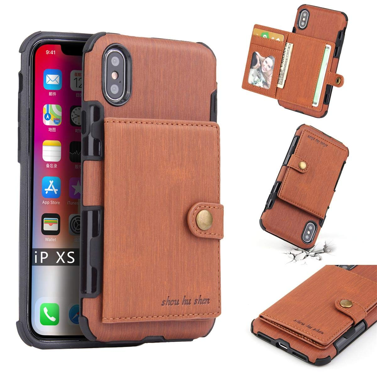DAMONDY iPhone Xs Case,iPhone X Case,Luxury Brushed Wallet Card Holders Slot Design Cover Soft Shockproof Bumper Premium Leather Magnetic Protective Case for iPhone Xs/X-Brown by DAMONDY