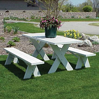 Awesome Dura Trel Vinyl Picnic Table W Unattached Benches Customarchery Wood Chair Design Ideas Customarcherynet