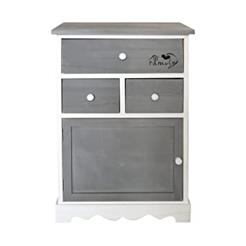mobili rebecca meuble de rangement armoire 3 tiroirs 1 porte bois gris blanc shabby chic vintage
