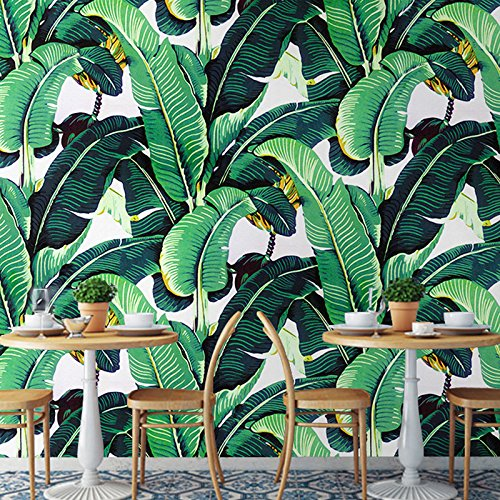 Creative Leaves Wallpaper (LHDLily 3D Wallpaper Mural Personality Creative Tropical Plant Banana Leaf Wallpaper Bedroom Living Room Background Wall Paper South East Asian Mural Cloth 300Cmx200Cm)