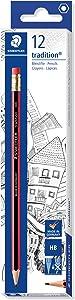 Staedtler Tradition 112 Pencil with Eraser Tip HB (Pack of12)