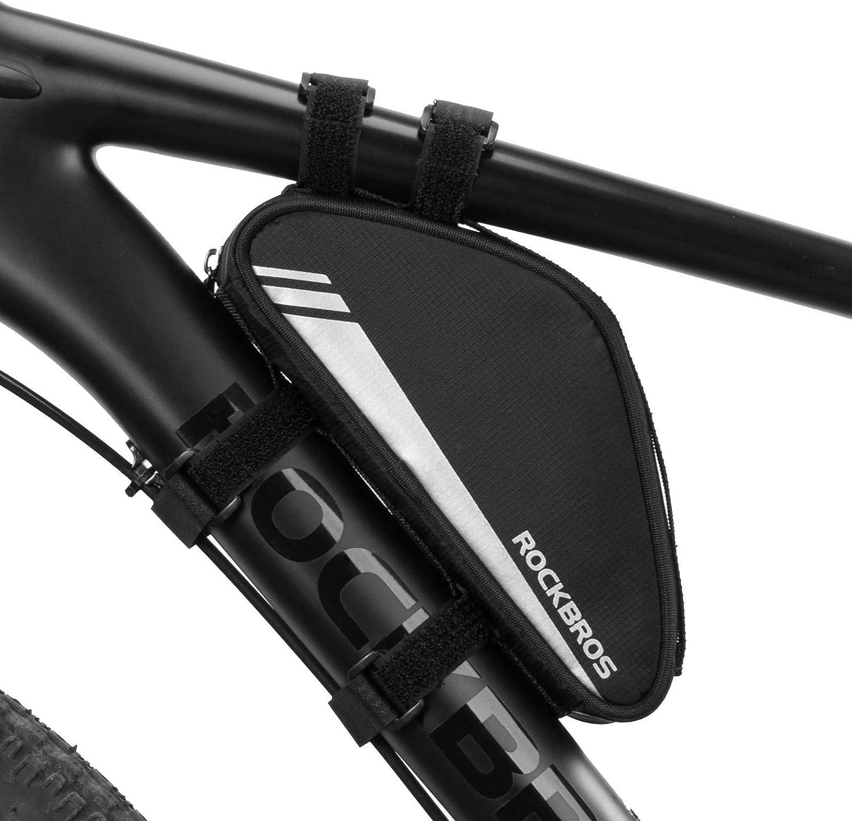 ROCKBROS Bolsa Triangular de Cuadro 0.7L Tubo Superior Frontal Ciclismo para Bicicleta DH MTB Negro: Amazon.es: Deportes y aire libre