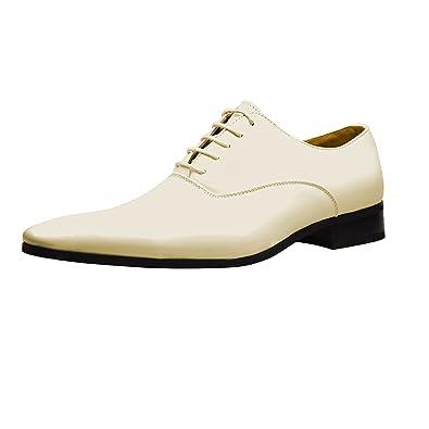 098c0211a618 Mens White Beige Leather Shoes Italian Smart Lace Up Dress SIZE UK 6 7 8 9  10 11  Amazon.co.uk  Shoes   Bags