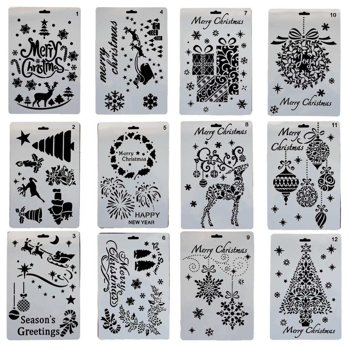 Gnognauq 12 Pack 25cm 18cm Christmas Stencils Template Plastic Painting Stencil for DIY Crafts Project   B07JP9TKYS