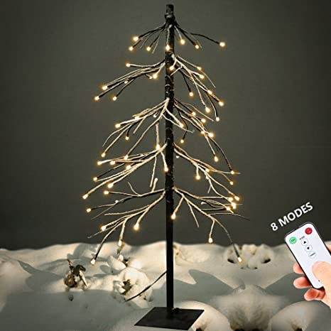 yunlights 5ft snow dusted tree lights 75 led light artificial tree with remote control 8 modes