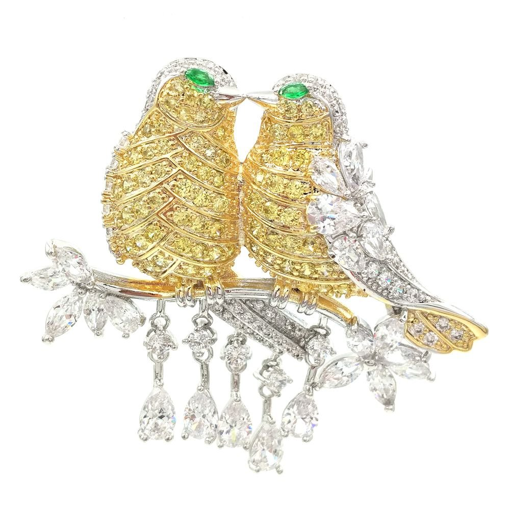 Dreamlandsales Fabulous Short Tassel Drops Double Love Yellow Bird Brooches Silver Tone