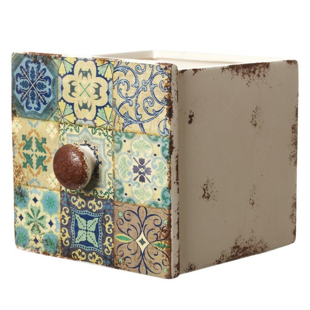 Heaven Sends Ceramic Drawers Style Pot (6.7x6x5.3in) (Multicolored)