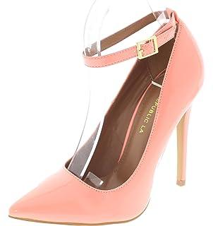 122345085 Shoe Republic LA Pointy Toe Stiletto Pump w Thin Ankle Strap