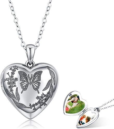 des bijoux chaîne coeur fille argenté papillon collier pendentif