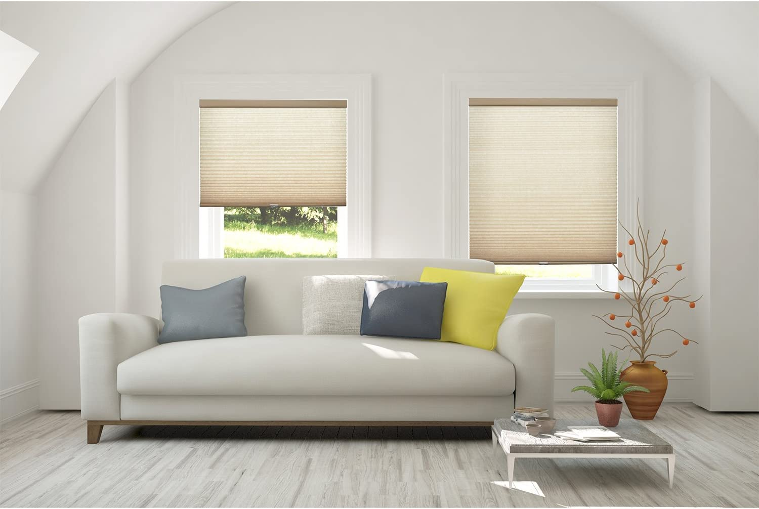 Inside Mount,W:18 xH:48 Croissant Privacy Light Filtering CHICOLOGY Custom Made Cordless Cellular Shades M