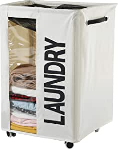 Haundry 86L X-Large Laundry Basket Hamper on Wheels Clear Window Tall Dirty Clothes Hamper Organizer with Handles Collapsible Rolling Storage Bins Bathroom Bedroom