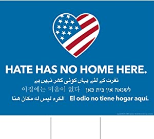 Little FootPrint Full Size 18 X 24 Official Hate Has No Home Here Yard Sign, Double-Sided, Metal Stake Included!