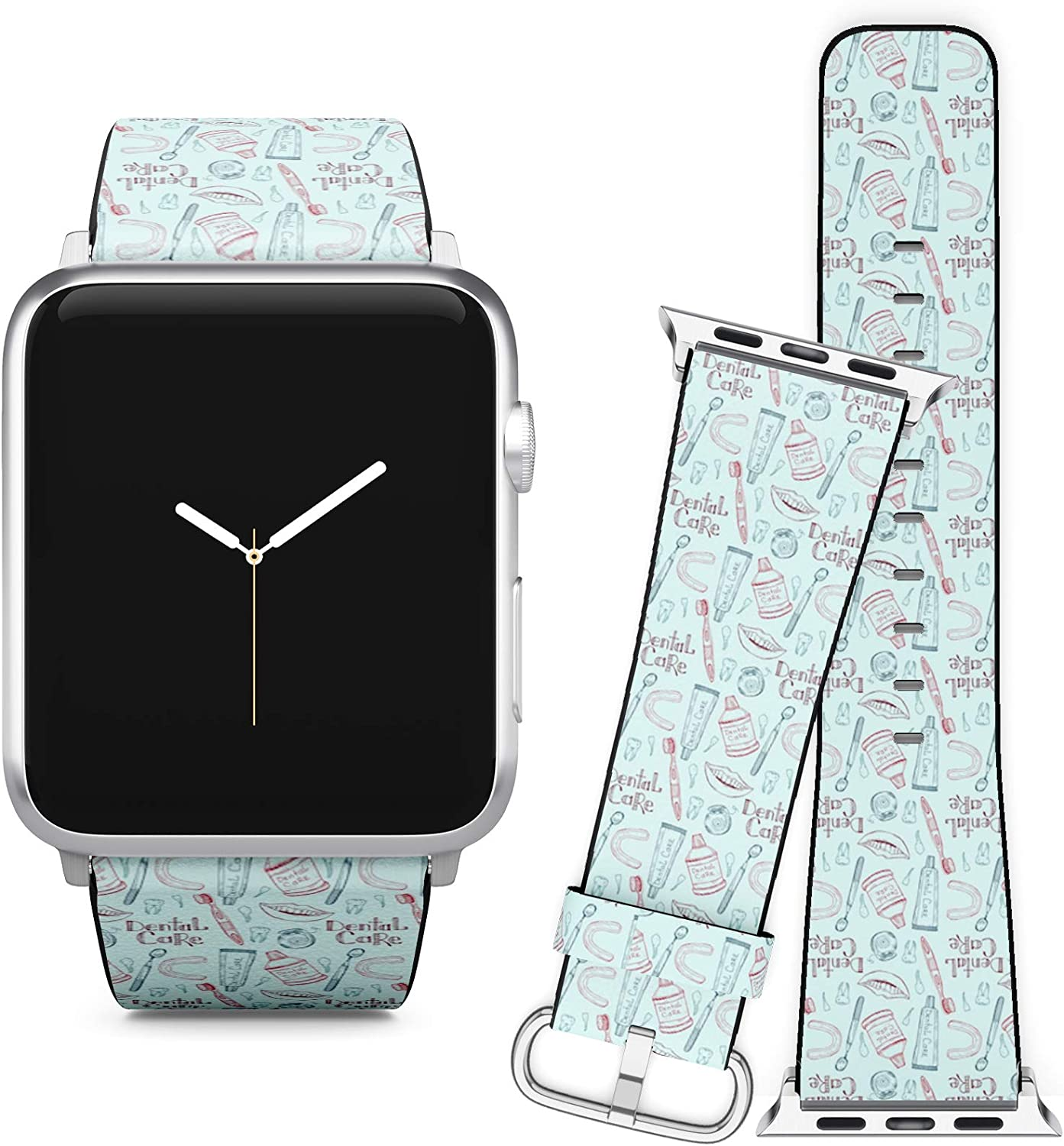 Compatible with Apple Watch iWatch (42/44 mm) Series 5, 4, 3, 2, 1 // Leather Replacement Bracelet Strap Wristband + Adapters // Dental Care Tools