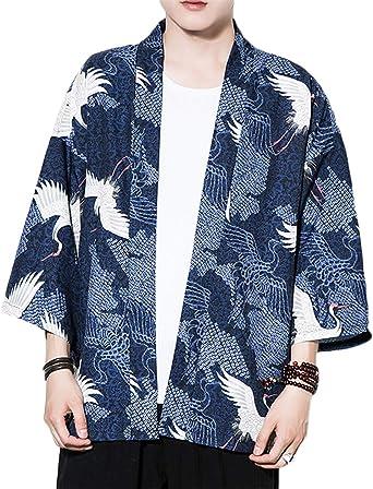GUOCU Hombres Camisa Japonés Kimono Cardigan Yukata Estilo con Impresos Vintage Holgado Casual Chaqueta: Amazon.es: Ropa y accesorios