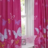 Textile Warehouse Butterfly Pink Polka Dot Girls Kids Childrens Pencil Pleat Lined Curtains 66 x 54