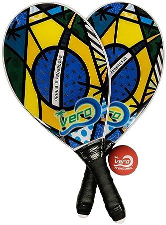 Frescobol Fibra de vidrio playa Paddleball Paddle Set Rasta Vibe, pelota oficial, bolsa: Amazon.es: Deportes y aire libre