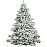 Vickerman Flocked Alaskan Pine Tree with 1495 Tips, 7.5-Feet by 68-Inch
