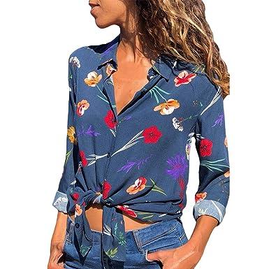 24335b65 Malloom Camisa Casual de Manga Larga con Estampado de Cadena para ...