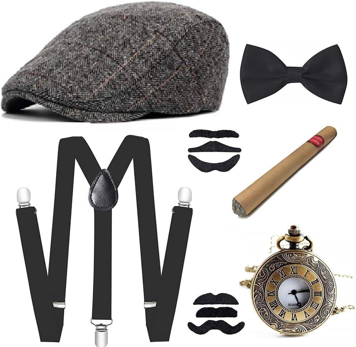 E EBETA 1920s Disfraces Accesorios Gatsby Accesorios para Hombre Cigar, Sombrero, Elástico Tirante, Pajarita y Reloj de Bolsilloo (C)