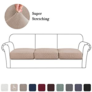 Couch Cushion Slipcovers 3 Pieces, High Stretch Chair Seat Coats Super Soft Fabric Sofa Coverings Skid Repellent Washable (3 Pieces Cushion Covers, Sand)