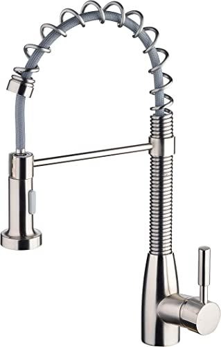 Kitchen Faucet,Commercial Pull Out Pull Down Spring Kitchen Sink Faucet Constructed of Lead Free Brass,Brushed Nickel