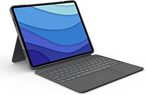 Logitech Combo Touch iPad Pro 12.9-inch (5th Generation) Keyboard Case - Detachable Backlit Keyboard with Kickstand, Click-Anywhere Trackpad, Smart Connector - Oxford Grey