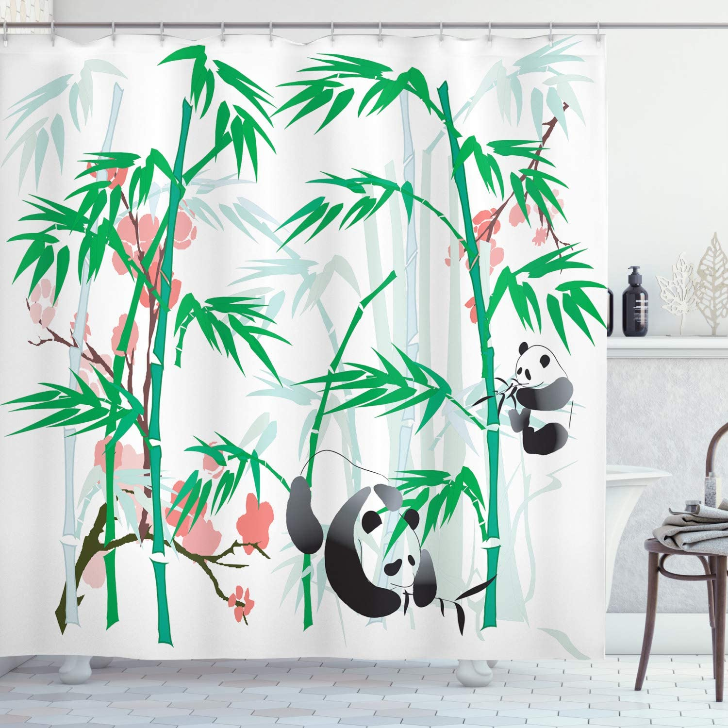Ambesonne Bamboo House Decor Collection, Giant Woody Grass Bamboos and Panda Bear in Chinese Tropics Artsy Print, Polyester Fabric Bathroom Shower Curtain, 84