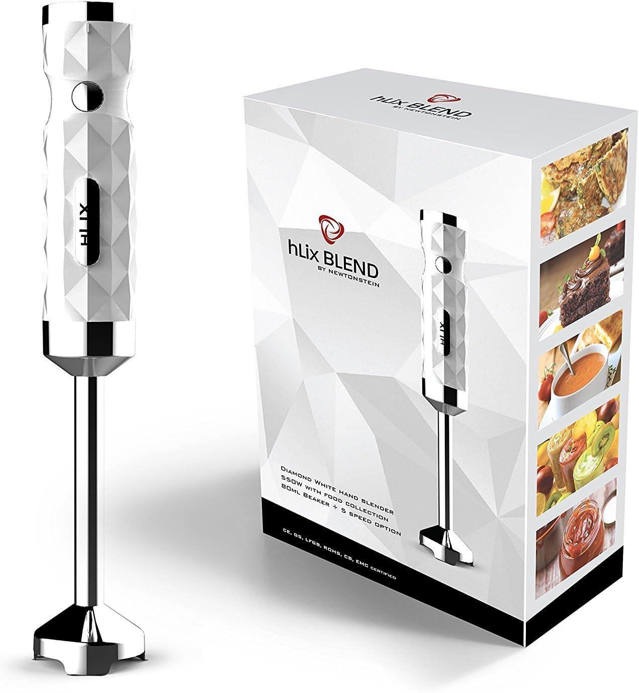 opzione di 5 velocit/à Frullatore ad immersione Diamante Bianco da 550W hLix BLEND con vaso per la raccolta degli alimenti da 700ml