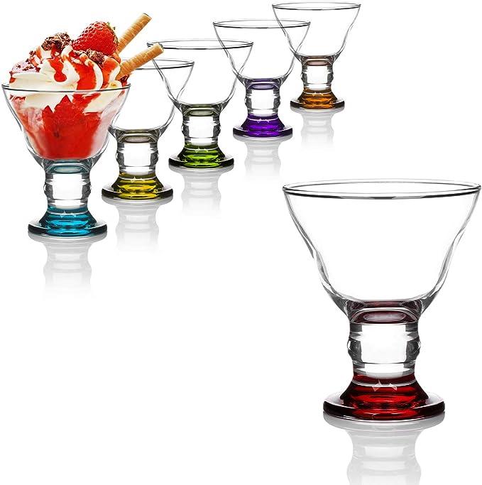 com-four® 6X tazón de Postre, Helado de Vidrio Colorido para Helado, postres y Fruta, Vasos de Postre Aptos para lavavajillas (06 Piezas de Color Orion)