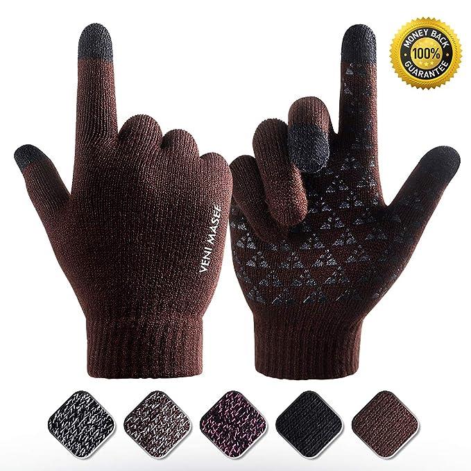 b4680b721150c9 VENI MASEE Winter Warm Touchscreen Handschuhe für Frauen Männer stricken  Wolle gefüttert Texting
