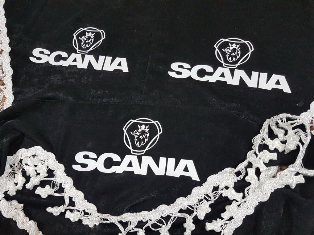 3 Teilig Set Schwarz Gardinen Mit Weiß Bommeln Universal GrÖsse Für Scania Alle Modelle Lkw Zubehör Dekoration Innenraum Vorhänge Plüsch Stoff Auto