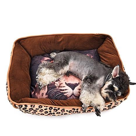 YongYeYaoBEN Cómodo Animal Impreso Perro Nido casa de Perro cojín de la Cama extraíble (Leopardo
