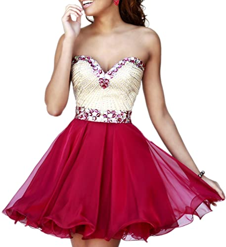 Miss Chics Short Homecoming Dresses Sweetheart Beaded Prom Dress for Women 2017