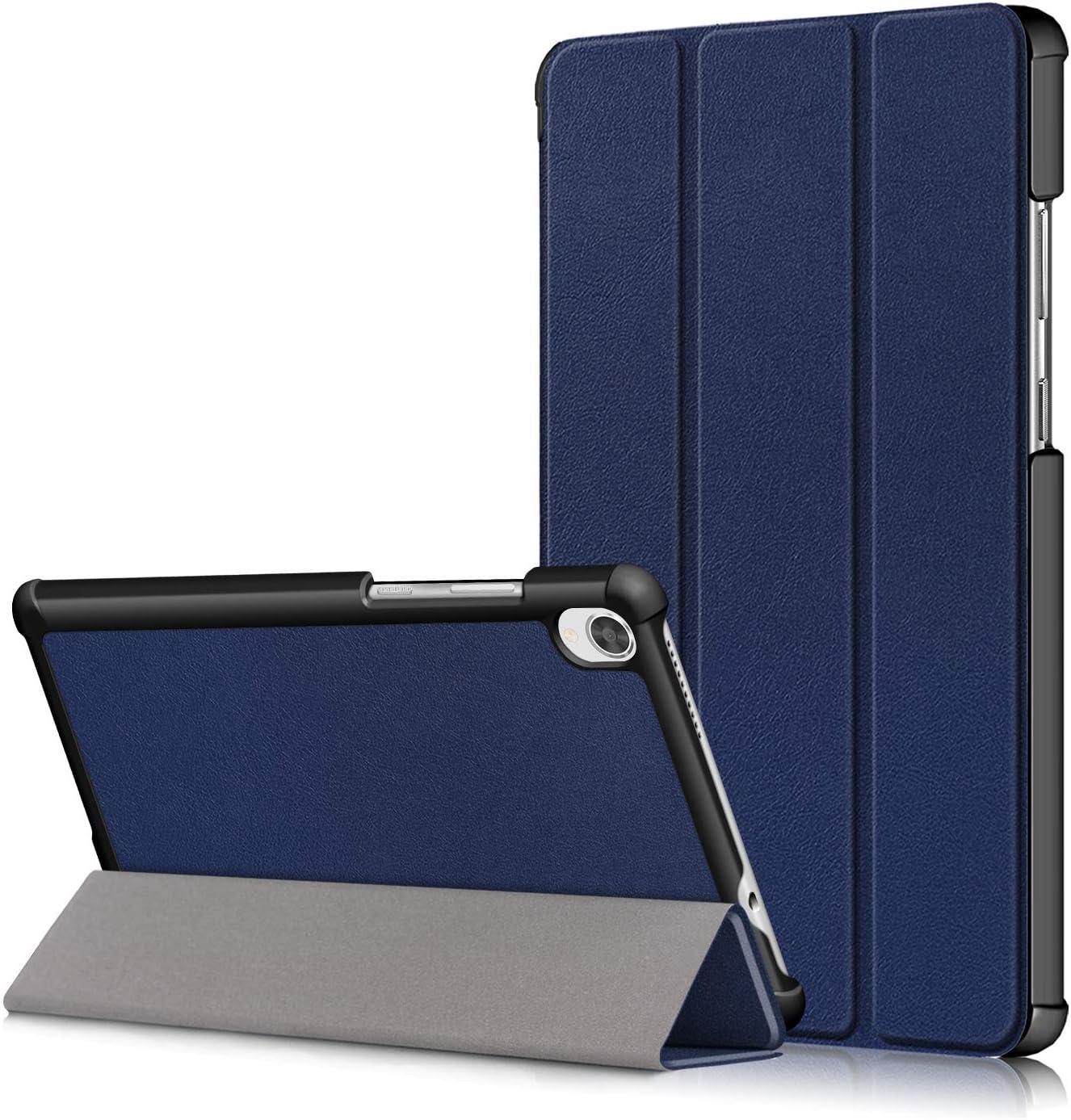 "Lenovo Tab M8 8.0"" Flip Cover,Tri-Fold Hard Kid Proof Cover PU Ultra Slim Smart Case with Protection Shell Shockproof Bumper for Lenovo Tab M8 FHD TB-8705F/X,Tab M8 HD TB-8505F/X Tablet (deep Blue)"