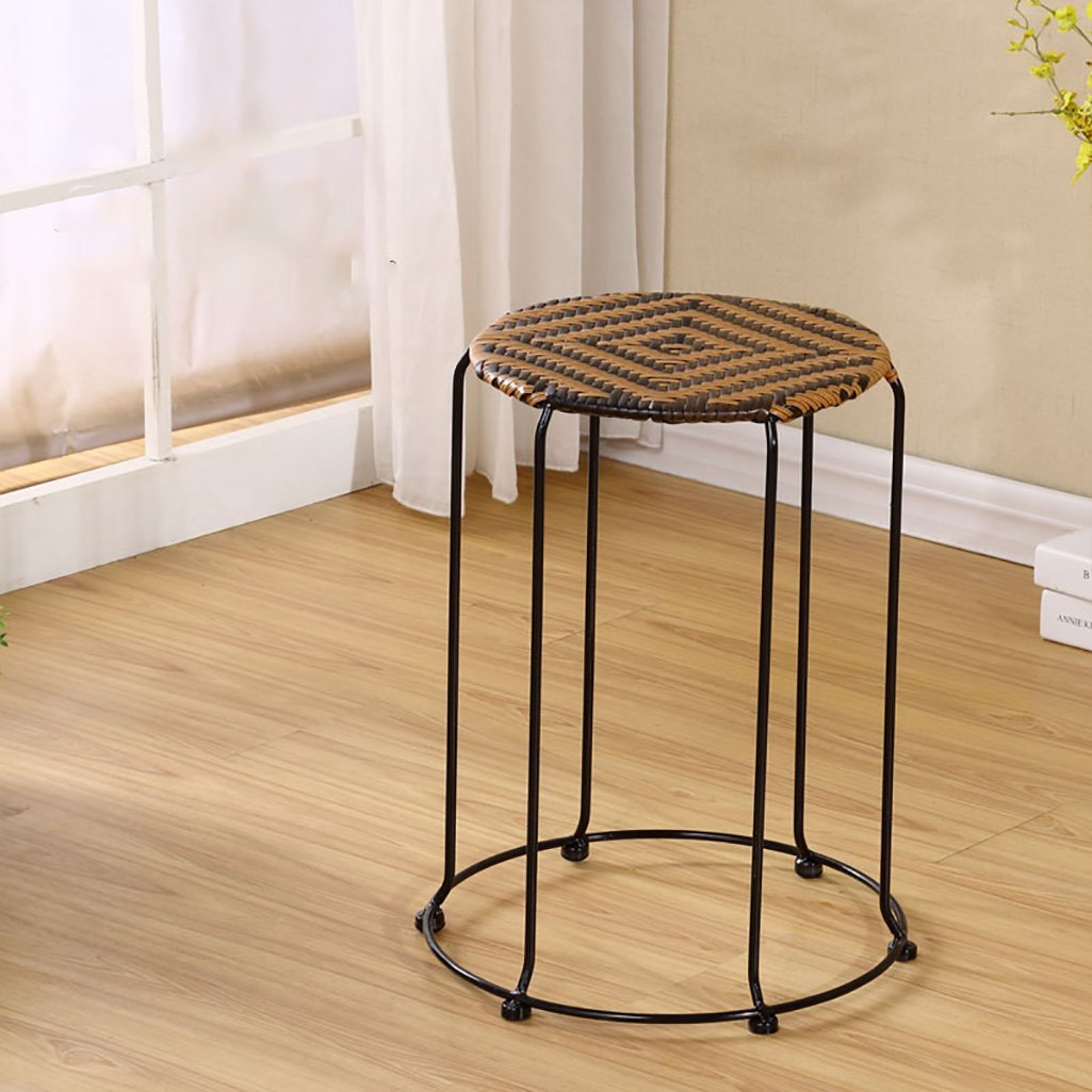 AIDELAI Bar Stool chair- Light Household Easy To Incorporate Practical Rattan Stool Stool Plastic Stool Meal Stool Round Rugged High Stool High Chair Saddle Seat (Color : A, Size : 3850cm)