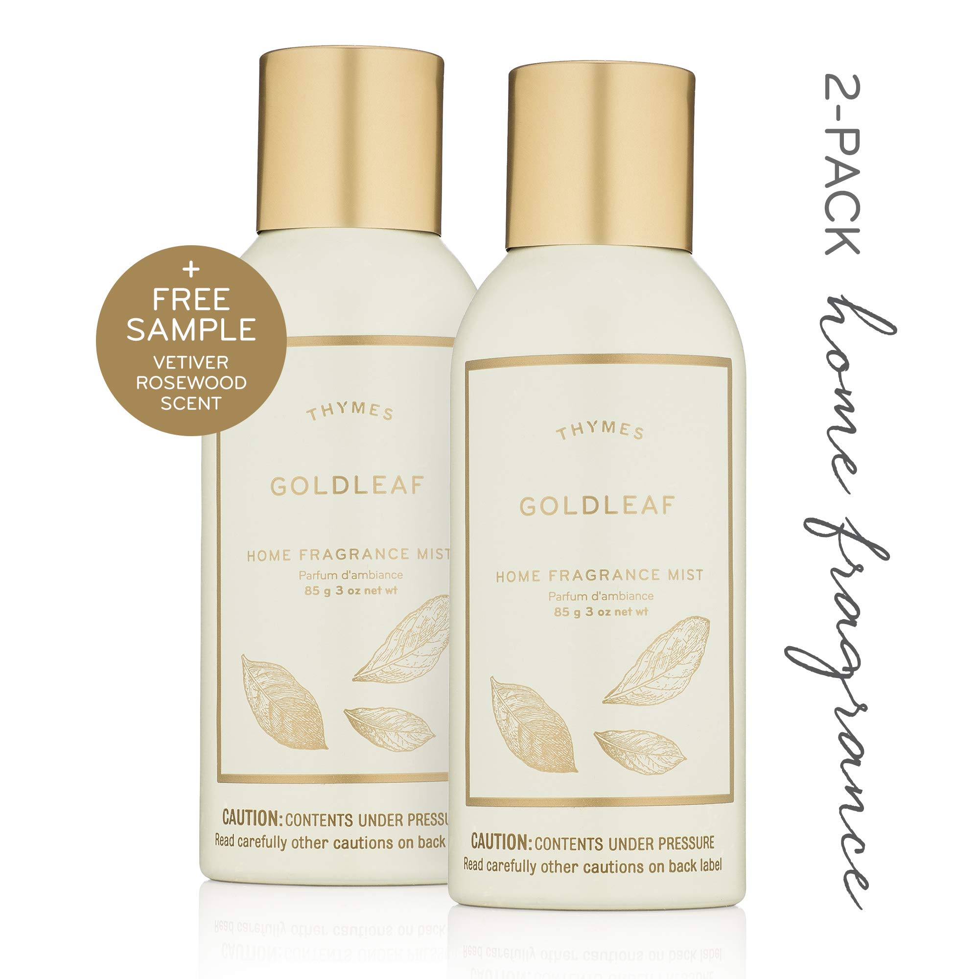 Thymes - Goldleaf Home Fragrance Mist (2-Pack) with Free Vetiver Rosewood Sample Pack- Elegant Floral Scented Room Spray - 3 oz