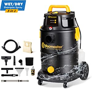 Vacmaster Wet Dry Shampoo Vacuum Cleaner 3 in 1 Portable Carpet Cleaner 8 Gallon 5.5 HP Power Suction Washable HEPA Filter & Cartridge Filter for Carpet, Pet Hair, Sofa, Hard Floor, Car & Garage