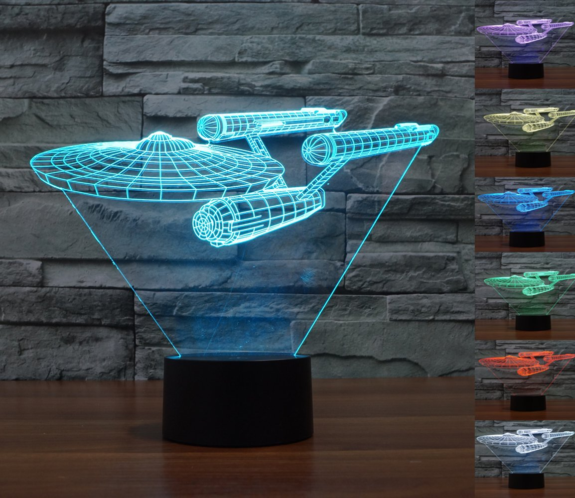 Lmeison 3D Lights Colorful Touch LED Visual Lights 7 LED Colors Change Décor Atmosphere Lamp, Best Gift for Kids, friends, birthdays, holidays( Star Trek Warships)