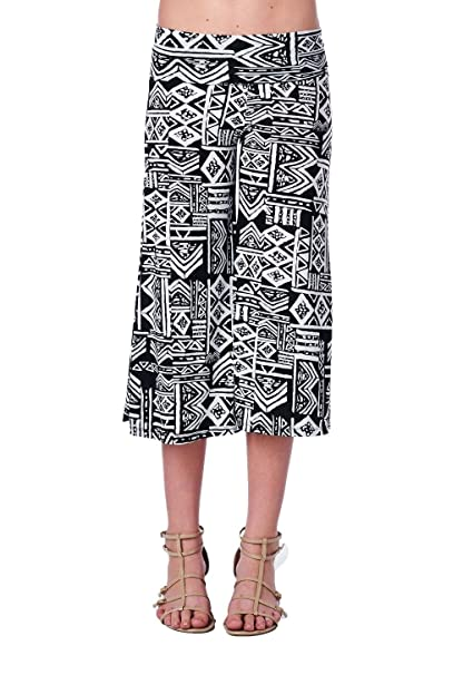 dad06305989 Women s Multi Geometric Chevron Print Fold Waist 3 4 Length Gaucho Capri  Pants (Small