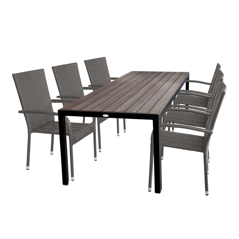 Gartengarnitur Gartentisch Mit Polywood Tischplatte 205x90cm + 6x  Stapelbare Gartenstühle Polyrattan Rattanstuhl Stapelstuhl Gartenmöbel Set  Sitzgruppe ...